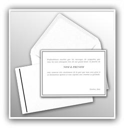 cartes de remerciement décès avec enveloppes imprimerie agescom Genève